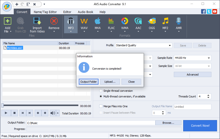 Audio converter pop-up window