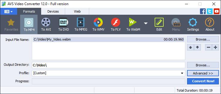 WebM conversion