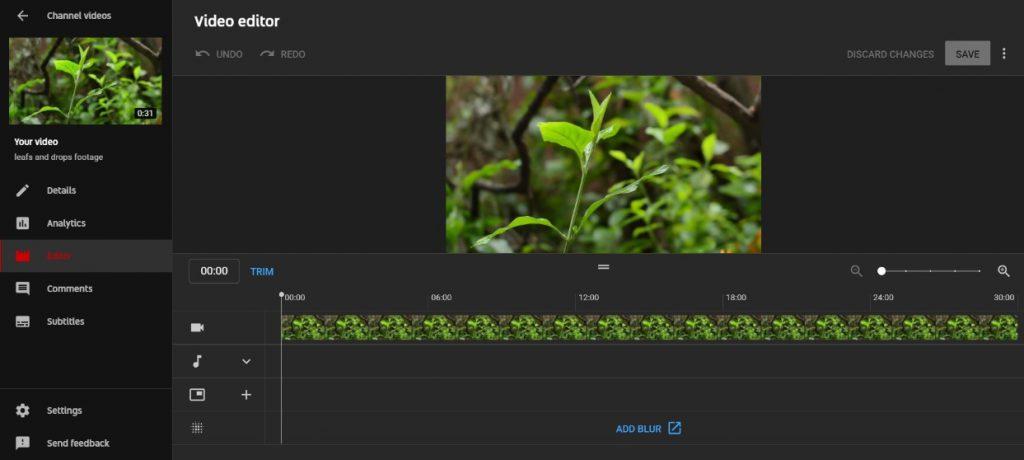 Youtube Video Editor Benutzeroberfläche