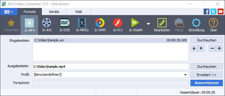 AVI in MP4 Benutzeroberfläche