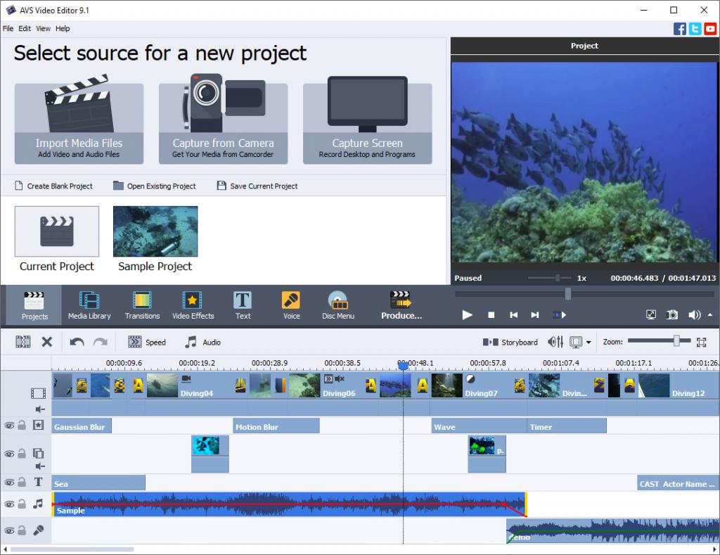 AVS Video Editor Benutzeroberfläche
