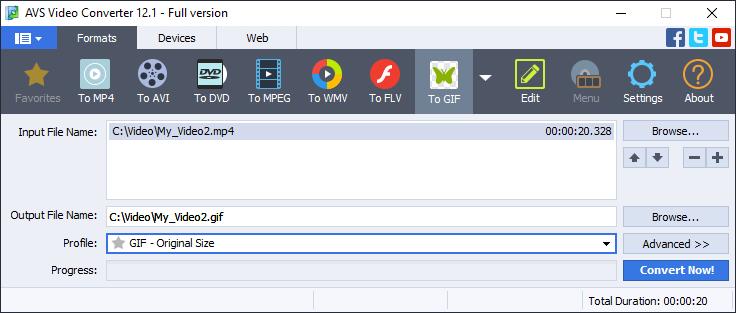 Convert videos to gifs in AVS Video Converter