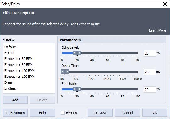 Echo/Delay AVS Audio Editor