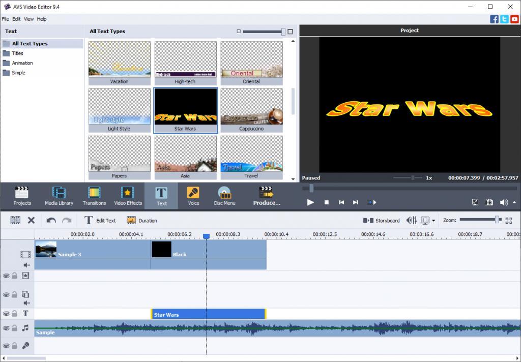 Star Wars Titeln in AVS Video Editor