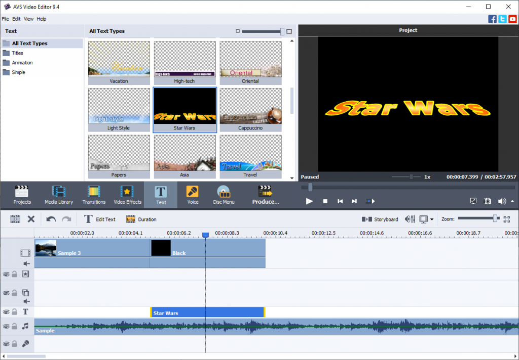 Star wars titles in AVS Video Editor