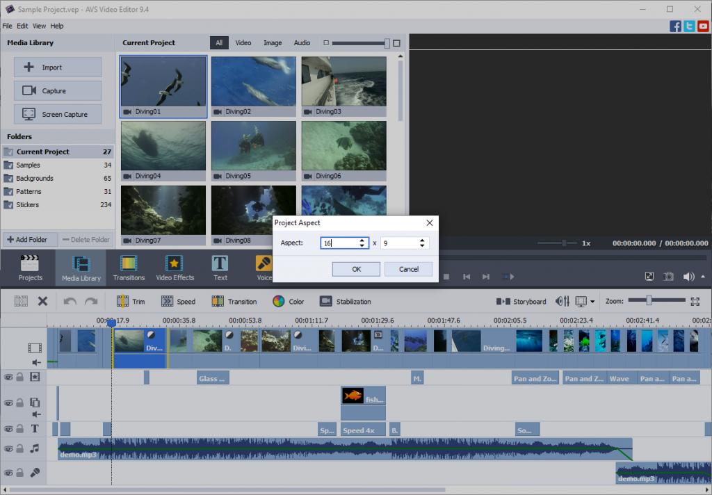 Seitenverhältnis für Facebook in AVS Video Editor anpassen