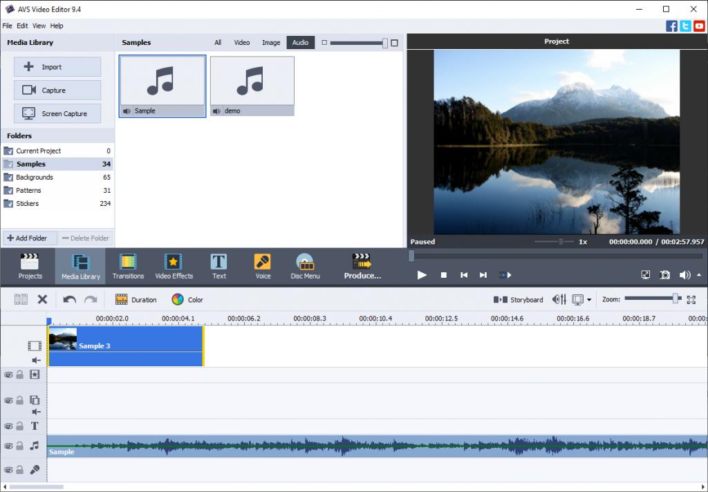 Lied ins Video für Facebook in AVS Video Editor einfügen