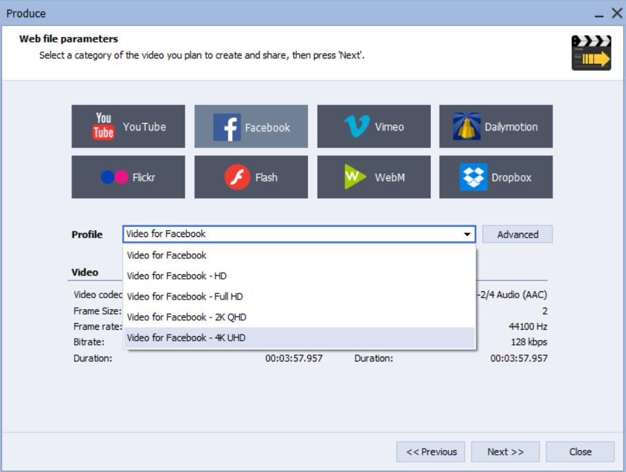 Facebook-Video Voreinstellungen in AVS Video Editor