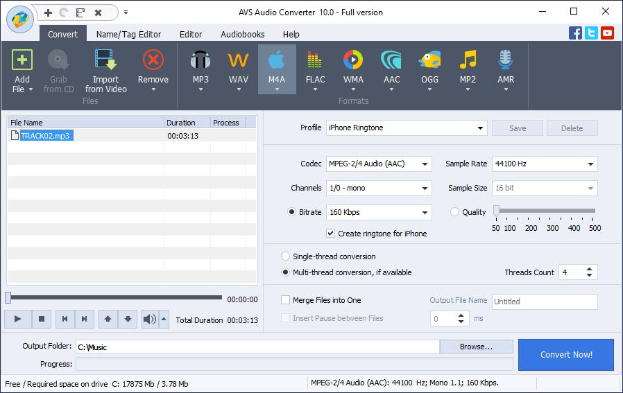 M4A dash aus YouTube in M4A mit AVS Audio Converter konvertieren