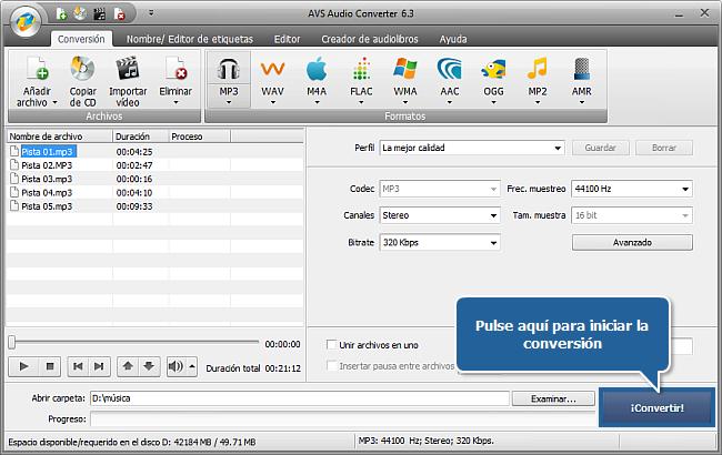 Convertidor de formatos de audio