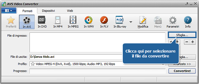 Come convertire file video in DivX, Xvid, AVI, MPEG, WMV, MOV? Passo 2