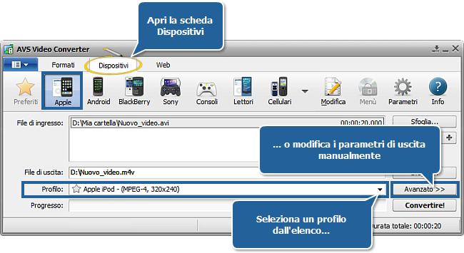 Come convertire file video in DivX, Xvid, AVI, MPEG, WMV, MOV? Passo 3