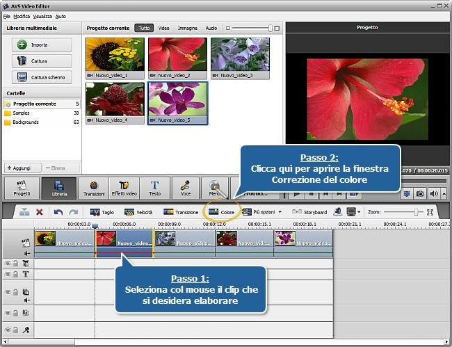 Come aggiustare i colori nei filmati usando AVS Video Editor? Passo 1