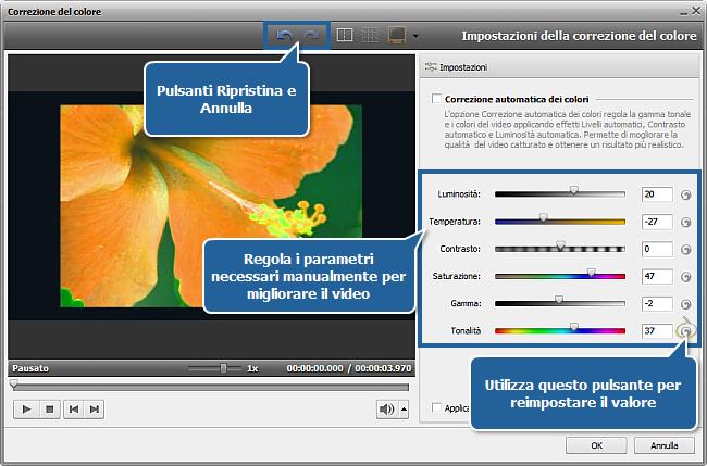 Come aggiustare i colori nei filmati usando AVS Video Editor? Passo 2