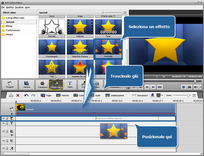 Come applicare un effetto video usando AVS Video Editor? Passo 1