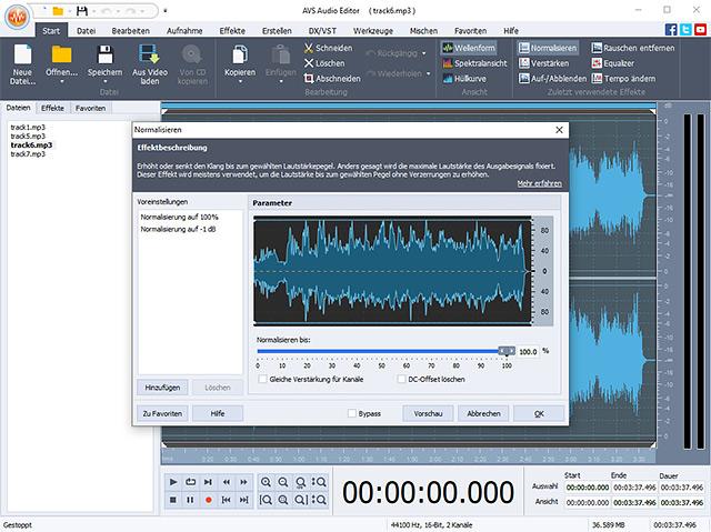 Screenshot vom Programm: AVS Audio Editor