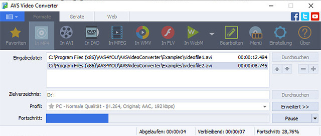 Screenshot vom Programm: AVS Video Converter