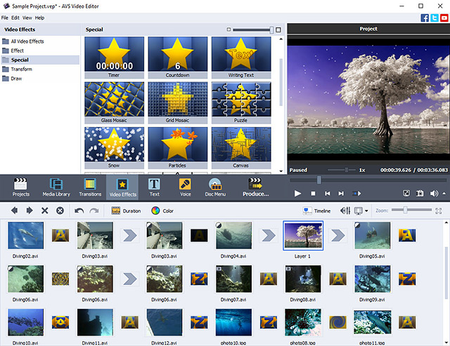 AVS Video Editor screenshot: video editor, edit video, capture video, burn DVD, iPod, Sony PSP, mobile, effects, transitions, edit video, burn Blu-ray, MP4, MPEG, AVI, DVIX, XVID, AVCHD, VOB, MOD, MTS, TOD, DVD menu, rip, delete, remove, screen capture, stabilize video