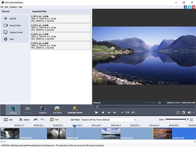 MPEG video editing, edit video, scan video, scene detection, video, without re-e